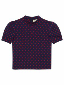 Gucci polka dot Double G knit top - Blue