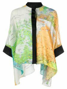 Sacai flag print asymmetric hem blouse - ORANGE