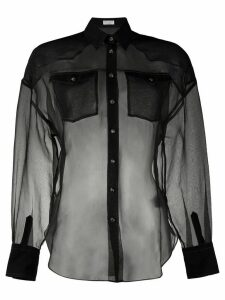 Brunello Cucinelli silk sheer long sleeve blouse - Black