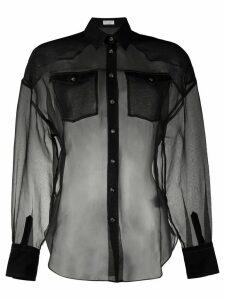 Brunello Cucinelli silk sheer long sleeve blouse - Black