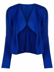 Pleats Please Issey Miyake pleated long sleeve cardigan - Blue