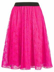 Philipp Plein floral-lace A-line skirt - PINK