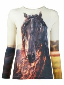 pushBUTTON long sleeve horse print top - NEUTRALS