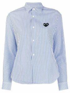 Comme Des Garçons Play stripe print heart shirt - White