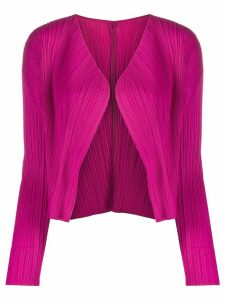 Pleats Please Issey Miyake pleated long sleeve cardigan - PINK