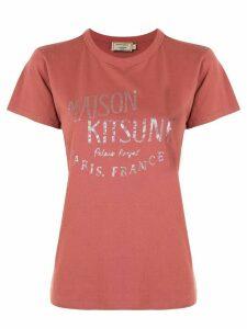 Maison Kitsuné iridescent logo T-shirt - PINK