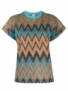 M Missoni zig-zag pattern knitted top - ORANGE