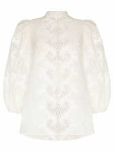 Zimmermann high-necked balloon sleeve lace top - White