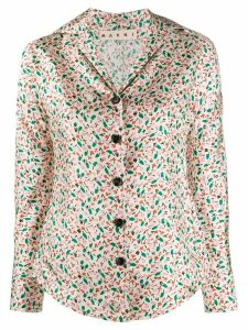 Marni floral v-neck blouse - NEUTRALS