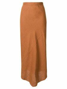 Venroy high-waisted asymmetric skirt - Brown