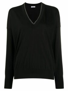 Brunello Cucinelli lurex-trimmed jumper - Black