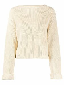 Semicouture long sleeve cable-knit sweater - NEUTRALS