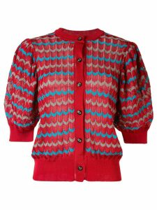 Kolor puffed sleeve cardigan - Red