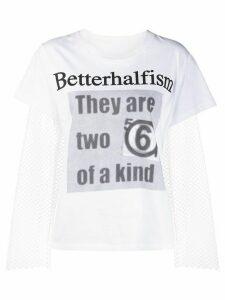 Mm6 Maison Margiela Betterhalfism mesh T-shirt - White