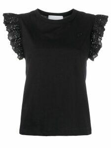 Philosophy Di Lorenzo Serafini embroidered ruffled T-shirt - Black