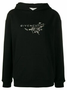Givenchy crystal-embroidered logo hoodie - Black