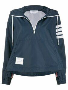 Thom Browne asymmetric hem hooded jacket - Blue