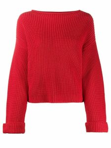 Semicouture long sleeve ribbed knit jumper - Red