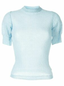 Cecilie Bahnsen short-sleeve silk jumper - Blue