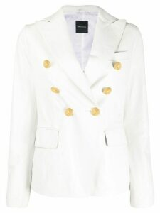 Tagliatore leather double breasted jacket - White