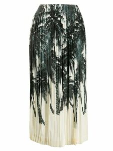 Ermanno Scervino palm tree print pleated skirt - Black