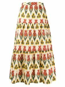 RedValentino flower print midi skirt - NEUTRALS