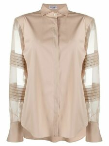 Brunello Cucinelli sheer panel shirt - NEUTRALS