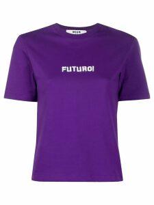 MSGM Futuro print cropped T-shirt - PURPLE