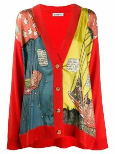 LANVIN Little Nemo print panelled cardigan - Red