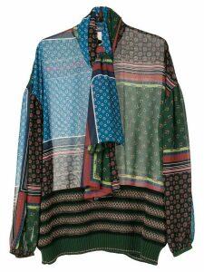Kolor patchwork print blouse - Black
