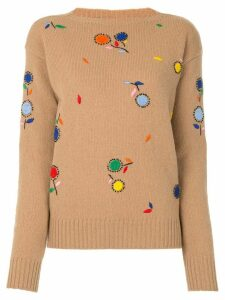 Prada floral embroidered jumper - Brown