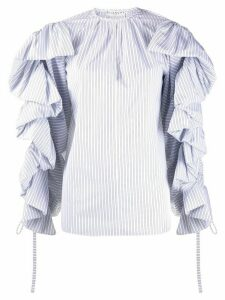 Givenchy pinstriped ruffled sleeves blouse - White