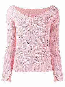 Ermanno Scervino chunky knit studded detail jumper - PINK
