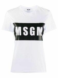 MSGM crew neck logo tape T-shirt - White