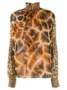 Roberto Cavalli mixed animal print blouse - Brown