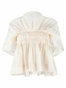 Molly Goddard pleated flared blouse - NEUTRALS