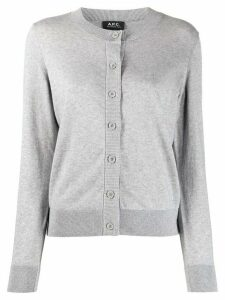 A.P.C. ribbed crew neck cardigan - Grey