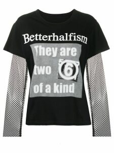 Mm6 Maison Margiela Betterhalfism mesh T-shirt - Black