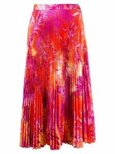 Versace jungle print pleated midi skirt - PINK