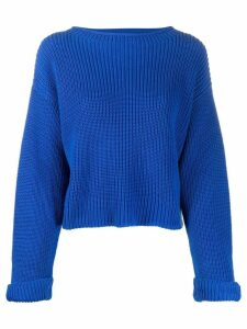 Semicouture round neck cable-knit jumper - Blue