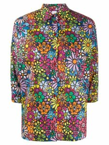 Ultràchic floral-print 3/4 sleeves shirt - Black