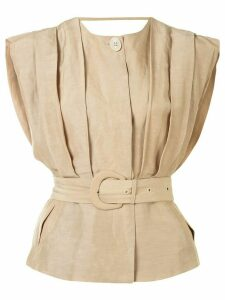 Sir. Leon pleated tailored top - Brown