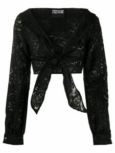 Versace Jeans Couture floral-pattern cropped blouse - Black