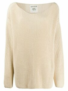 Semicouture dropped-shoulder purl-knit sweater - NEUTRALS