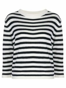 Allude fine knit striped jumper - White