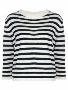 Allude fine knit striped jumper - White