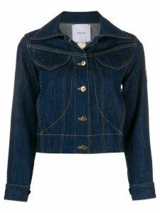 Patou logo patch denim jacket - Blue