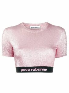 Paco Rabanne lurex cropped top - PINK
