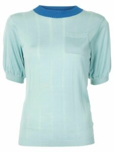 Lee Mathews Sheer Drop Needle Puff Top - Green
