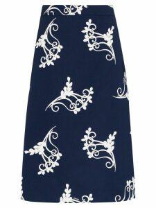 Prada fern print poplin midi skirt - Blue